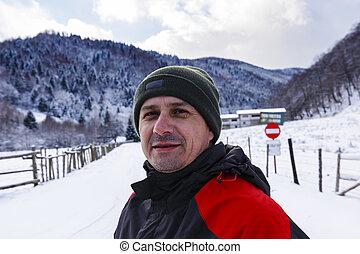 山, 人, 冬天風景, 肖像