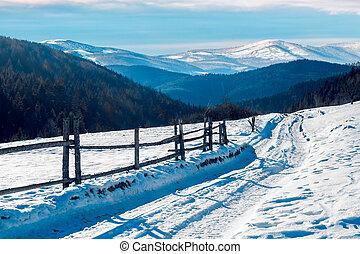 山, 冬天, 路, 國家