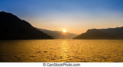 山, 在上方, 湖, 日出, 好