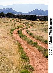 山, 場景, 路, 泥土