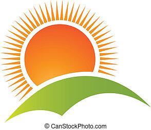 山, 太陽, 標識語, 矢量, 小山