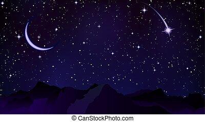 山, 彗星, 背景, 夜晚