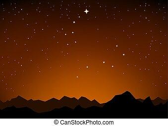 山, 星, 傍晚, 星座