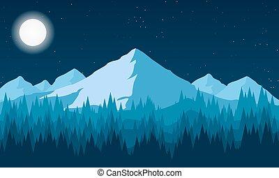 山, 森林, 風景, 夜晚