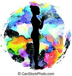 山, 瑜伽, pose., silhouette., tadasana, 婦女