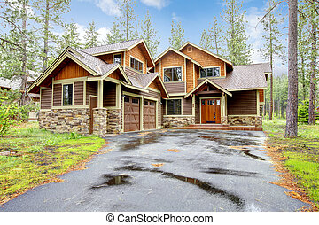 山, 石頭, 木頭, 豪華家, exterior.