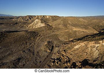 山, 空中, 沙漠, 看法