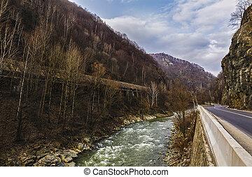 山, 羅馬尼亞, apuseni, 山, 透過, 路