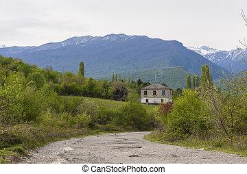 山, 路, 房子
