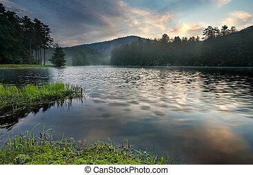 山, 酒, 湖, 日出, 森林