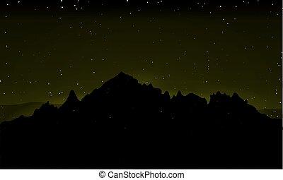 山, 黑色半面畫像, 天空, 針對, 背景, 夜晚
