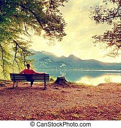 山, beeches, 坐, 木制, 樹, 長凳, lake., 在下面, 銀行, 人