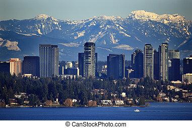 山, bellevue, 多雪, 華盛頓, 湖, 小瀑布, 狀態