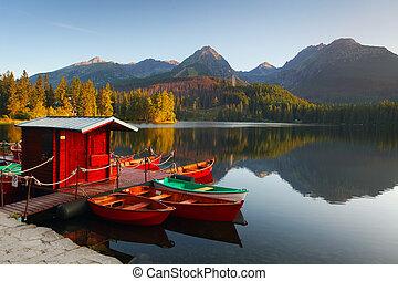 山, pleso, -, 湖, 斯洛伐克, tatra, strbske