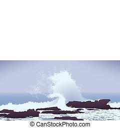 岩石, 太平洋, 波浪大, 海洋, 毀壞