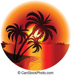 島, 傍晚, 熱帶