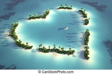島, 看法, 空中, 心形
