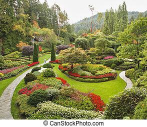 島, sunken-garden, 溫哥華