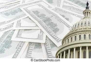 州議會大廈, 美元, 我們, 鈔票, 背景, 100