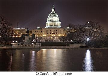 州議會大廈, 華盛頓特區, 我們, 夜晚, 反映