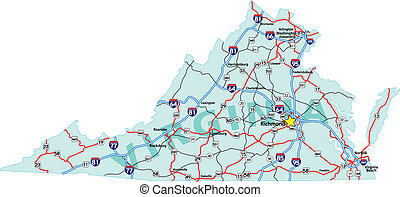 州際, 地圖, 弗吉尼亞
