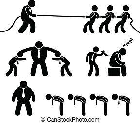 工人, 事務, 戰斗, pictogram