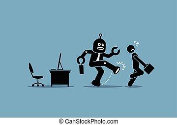 工人, 人類, 雇員, 機器人, 去, 工作, 辦公室。, 他的, 踢, 電腦