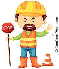 工人, 停止, 路, 藏品, 簽署