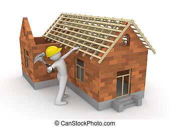 工人, -, 木匠, 彙整, 屋頂, 木材