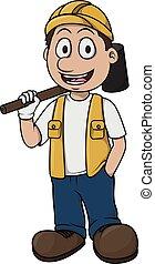 工人, contruction, 設計, 卡通
