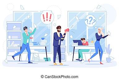 工作場所, 隊, 憤怒, 雇員, 老板, 恐慌