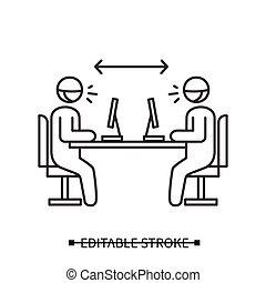 工作場所, distancing, coworking, 辦公室, 距離, icon., 插圖, 矢量, 或者, 簡單, 社會