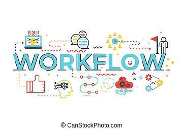 工作流程, 詞, 插圖