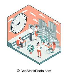 工作, 大, 針對, clock., 背景, 辦公室人們