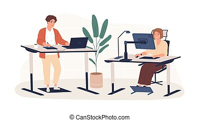 工作, 套間, 人們, 工作場所, 當代, 創新, 內部, 站立, 人, 矢量, 家具, 坐, 被隔离, white., ergonomic, 雇員, 工作區, 現代, illustration., 後面, 婦女