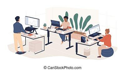 工作, 套間, 人們, 當代, 計算机, 人, coworking, 矢量, 家具, openspace, 雇員, ergonomic, isolated., 多种多樣, 工作區, 現代, illustration., 區域, 婦女