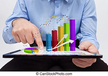 工作, 年度, -, 圖表, 人物面部影像逼真, 報告, 商人
