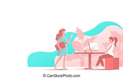 工作, 現代, 辦公室。, 女孩, 年輕