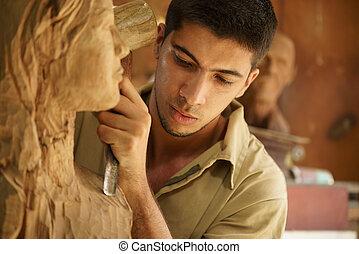 工作, 藝術家, 年輕, 工匠, 雕刻品, 雕刻家, sculpting