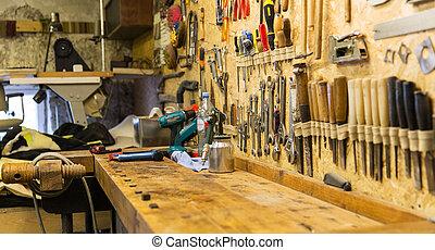 工作, 車間, 工作台, 工具