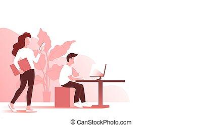 工作, 辦公室, 女孩, 人, 年輕
