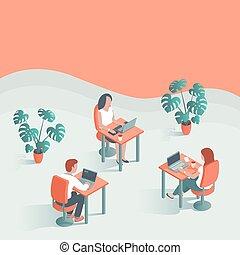 工作, 辦公室。, 現代, 年輕人