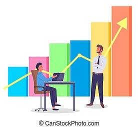 工作, 酒吧, arrow., 人員, 人, 辦公室, 經理, 膝上型, 項目, 容量, 圖表, 顏色, 黃色