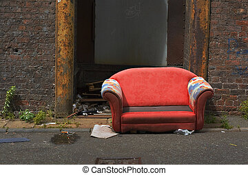 工業, 老, 被放棄, 衚衕, 長沙發, 方式