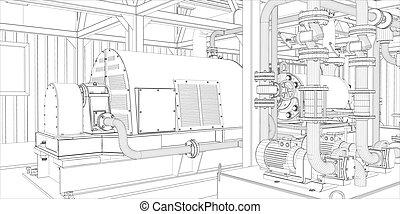 工業, equipment., wire-frame, render, 3d