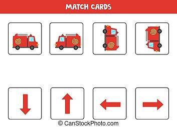 左, 方位, 權利, 卡通, 或者, 向上, 下來。, 火, truck., 空間