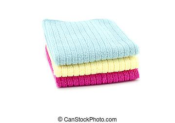 左, 顏色, 鮮艷, 空間, 被隔离, 毛巾, neatly, 棉花, 白色, 模仿, 黃色, 堆, 背景。, 紅色, 藍色, 摺疊