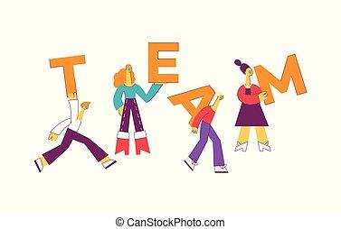 差异, 人們, 大, 插圖, letters., 矢量, 設計, 藏品, 隊, 正文