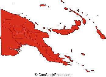 巴布亞, 地圖, -, 新的几尼