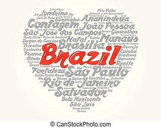 巴西, 心, 詞, 目錄, 城市, 雲